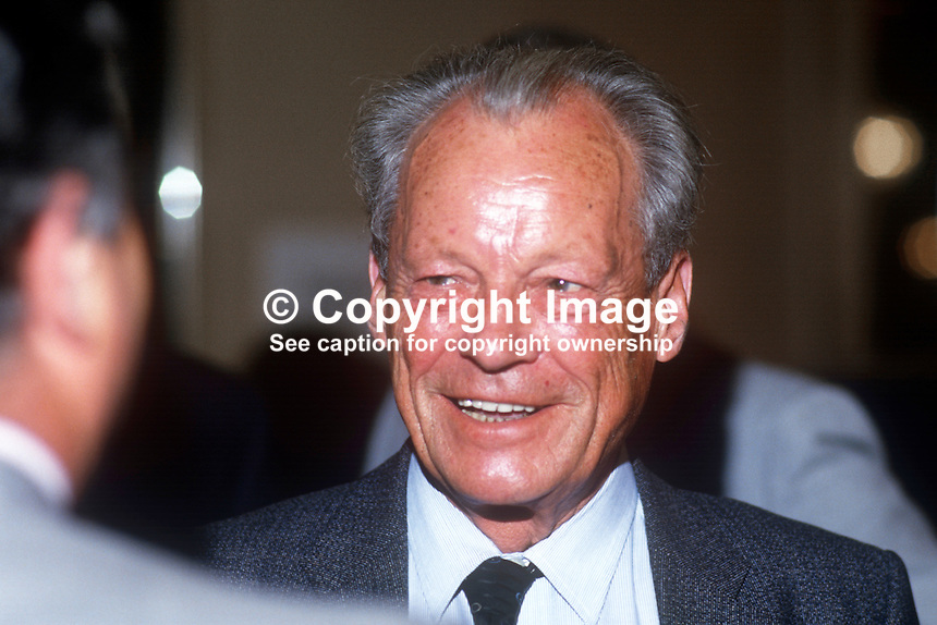 Willy Brandt, former Chancellor, West Germany, at annual conference, UK Labour Party, 1986. 19860925WB3<br />
