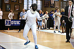 12 February 2017: UNC's Samantha Galina competes in Epee. The University of North Carolina Tar Heels played the Northwestern University Wildcats at Card Gym in Durham, North Carolina in a 2017 College Women's Fencing match. UNC won the dual match 15-12 overall, 5-4 Foil, 5-4 Epee, and 5-4 Saber.