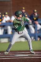 Eastern Michigan Eagles third baseman Devin Hager (23) squares to bunt during the NCAA baseball game against the Michigan Wolverines on May 8, 2019 at Ray Fisher Stadium in Ann Arbor, Michigan. Michigan defeated Eastern Michigan 10-1. (Andrew Woolley/Four Seam Images)