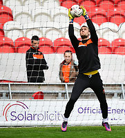 Blackpool's Sam Slocombe during the pre-match warm-up <br /> <br /> Photographer Chris Vaughan/CameraSport<br /> <br /> The EFL Sky Bet League Two - Doncaster Rovers v Blackpool - Keepmoat Stadium - Doncaster<br /> <br /> World Copyright &copy; 2017 CameraSport. All rights reserved. 43 Linden Ave. Countesthorpe. Leicester. England. LE8 5PG - Tel: +44 (0) 116 277 4147 - admin@camerasport.com - www.camerasport.com