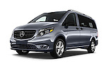 Stock pictures of low aggressive front three quarter view of 2016 Mercedes Benz Metris Passenger-Van 5 Door Passenger Van Low Aggressive