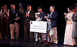 Ethan Khusidman & Zachary Unger & Company during the Curtain Call and check presentation to Christopher Horgan, Jonathan Ziegler and Timothy Carroll from The Lil' Bravest INC Charity at 'Chaplin' at the Barrymore Theatre in New York City on 11/09/2012