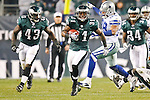 Philadelphia Eagles cornerback Ellis Hobbs #31 carries the ball during the NFL game between the Dallas Cowboys and the Philadelphia Eagles on November 8th 2009. The Cowboys won 20-16 at Lincoln Financial Field in Philadelphia, Pennsylvania. (Photo By Brian Garfinkel)
