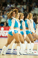 Cheerleaders dancing during 2014-15 Euroleague Basketball match between Real Madrid and Anadolu Efes at Palacio de los Deportes stadium in Madrid, Spain. December 18, 2014. (ALTERPHOTOS/Luis Fernandez) /NortePhoto /NortePhoto.com