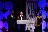 Pele gives his acceptance speech for his lifetime achievement award presented by David Beckham during the 2008 Streets to Fields Gala at Gotham Hall in NYC, NY, on March 19, 2008.