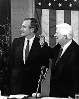 ***FILE PHOTO*** George H.W. Bush Has Passed Away<br /> United States Vice President George H.W. Bush, left, and the Speaker of the US House of Representatives Thomas P. &quot;Tip&quot; O'Neill (Democrat of Massachusetts), right, shortly before the arrival of US President Ronald Reagan who is scheduled to deliver his State of the Union Address to a Joint Session of the US Congress in the US Capitol in Washington, DC on February 18, 1981.  In the speech, Reagan detailed his plan to cut federal spending.<br /> CAP/MPI/RS<br /> &copy;RS/MPI/Capital Pictures