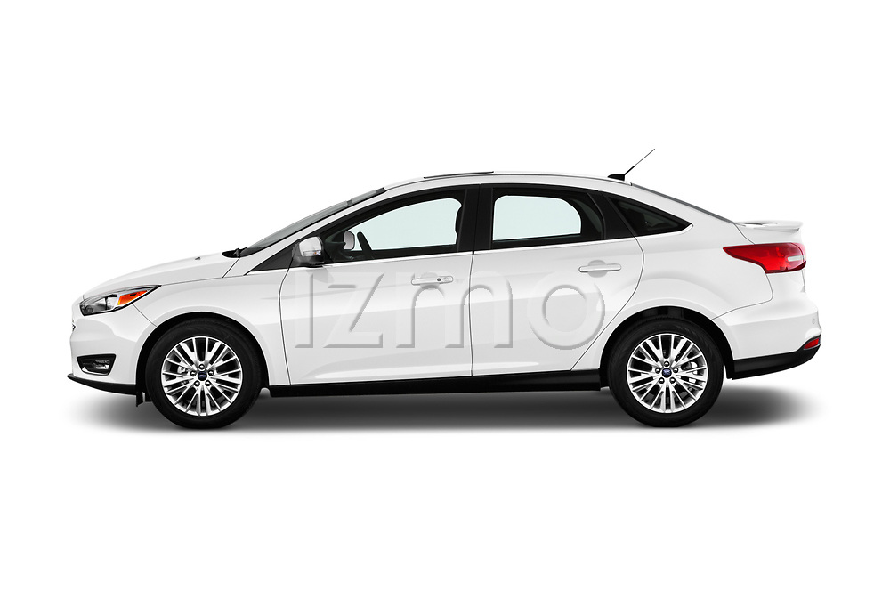Car Driver side profile view of a 2017 Ford Focus Titanium 4 Door Sedan Side View