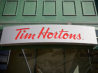 A Tim Hortons coffee shop is seen in Toronto April 22, 2010. Tim Hortons Inc. is a Canadian coffee shop known for its coffee and doughnuts.