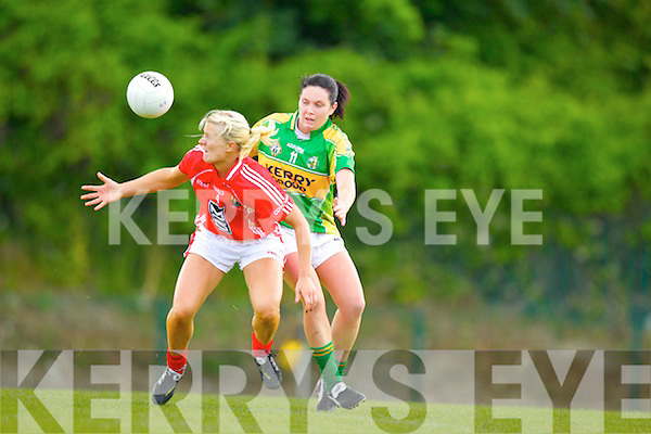 Linda Cronin Kerry v Deirdre O'Rielly Cork Munster Senior Ladies Final in Dr Crokes Lewis Road on Saturday.