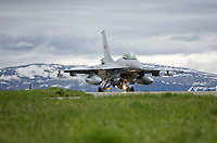 A Norwegian F-16 fighter jet. The military Arctic Challenge Exercise 2015 (ACE 15) is a large crossborder exercise, with flying in Norway, Sweden and Finland. Airforce aircraft from these countries as well as NATO aircraft from Germany and Great Britain train together in a vast airspace.<br /> (photo: Fredrik Naumann/Felix Features)