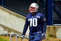 June 6, 2017: New England Patriots defensive tackle Adam Butler (70) walks to practice in the rain at the New England Patriots mini camp held on the practice field at Gillette Stadium, in Foxborough, Massachusetts. Eric Canha/CSM