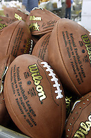 20 January 2005: Four balls that have been stamped with the possible combinations of superbowl opponents are shown at the Wilson football factory Thursday January 20, 2005 in Ada, Ohio. Only four balls are printed before the outcome of the divisional championship games to make sure the stamps are ready for production when the Super Bowl teams are determined.<br />