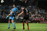 28th February 2020; Netstrata Jubilee Stadium, Sydney, New South Wales, Australia; A League Football, Sydney FC versus Western Sydney Wanderers; Mitchell Duke of Western Sydney Wanderers wins the header from Ryan McGowan of Sydney to score for 1-0 in the 81st minute