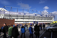 Liverpool, UK. Saturday 01 November 2014<br /> Pictured: A crowd of Everton fans outside goodison Park.<br /> Re: Premier League Everton v Swansea City FC at Goodison Park, Liverpool, Merseyside, UK.