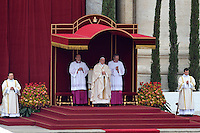 Pope Francis during the canonisation mass of Popes John XXIII and John Paul II on St Peter's at the Vatican on April 27, 2014.