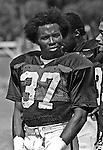 Oakland Raiders training camp August 10, 1982 at El Rancho Tropicana, Santa Rosa, California.   Oakland Raiders defensive back Lester Hayes (37).