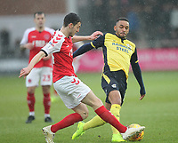 Fleetwood Town's Ashley Nadesan  battles with Scunthorpe Utd's Rory McArdle<br /> <br /> Photographer Mick Walker/CameraSport<br /> <br /> The EFL Sky Bet League One - Fleetwood Town v Scunthorpe United - Saturday 26th January 2019 - Highbury Stadium - Fleetwood<br /> <br /> World Copyright © 2019 CameraSport. All rights reserved. 43 Linden Ave. Countesthorpe. Leicester. England. LE8 5PG - Tel: +44 (0) 116 277 4147 - admin@camerasport.com - www.camerasport.com
