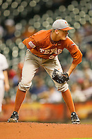Texas Longhorns starting pitcher Nathan Thornhill #36 looks to his catcher for the sign against the Rice Owls at Minute Maid Park on March 2, 2012 in Houston, Texas.  The Longhorns defeated the Owls 11-8.  (Brian Westerholt/Four Seam Images)