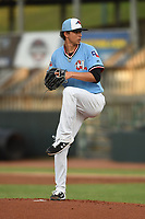 Hickory Crawdads starting pitcher Ricky Vanasco (13) in action during game one of the Northern Division, South Atlantic League Playoffs against the Delmarva Shorebirds at L.P. Frans Stadium on September 4, 2019 in Hickory, North Carolina. The Crawdads defeated the Shorebirds 4-3 to take a 1-0 lead in the series. (Tracy Proffitt/Four Seam Images)