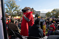 Actress and political activist Jane Fonda hugs Ben Cohen, of Ben and Jerry's Ice Cream, during a climate protest on Capitol Hill in Washington D.C., U.S., on Friday, November 8, 2019.  Activists then marched to the White House to draw attention to the need to address climate change.  Credit: Stefani Reynolds / CNP /MediaPunch
