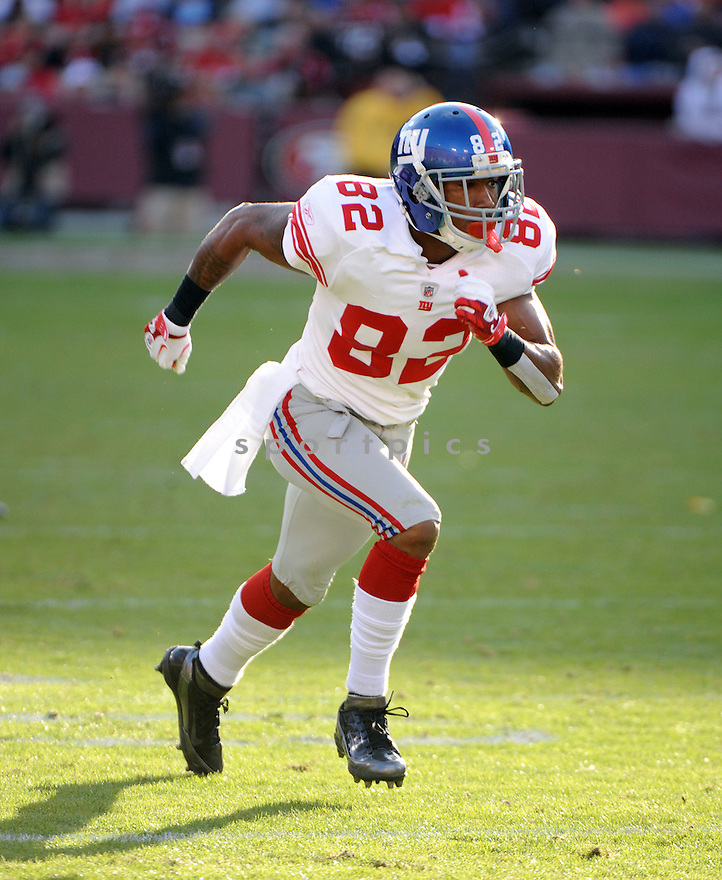 MARIO MANNINGHAM, of the New York Giants, in action during the Giants game against the San Francisco 49ers on November 13, 2011 at Candlestick Park in San Francisco, CA. The 49ers beat the Giants 27-20.