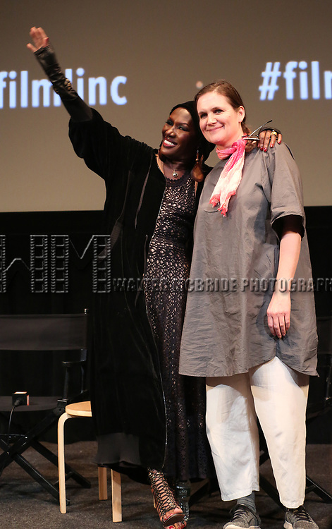 Grace Jones and Sophie Fiennes appear in person after a screening of her film 'Grace Jones: Floodlight and Bami' directed by Sophie Fiennes at the Walter Reade Theatre on April 14, 2018 in New York City