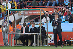 13 JUN 2010:  Serbia head coach Radomir Antic (SRB) ponders the action.  The Serbia National Team played the Ghana National Team at Loftus Versfeld Stadium in Tshwane/Pretoria, South Africa in a 2010 FIFA World Cup Group D match.