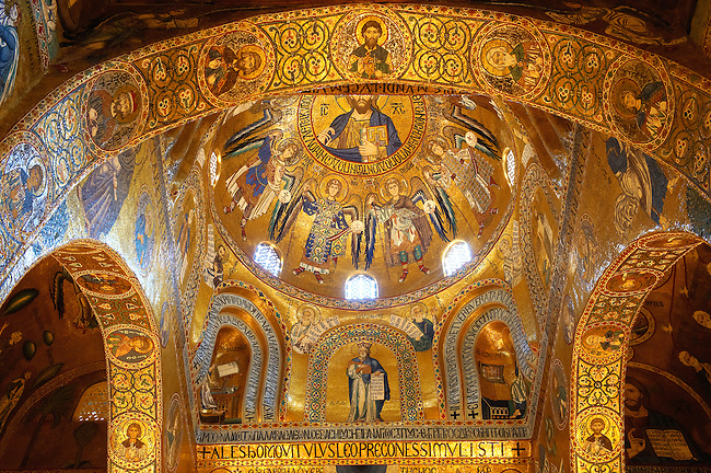 Byzantine mosaics at the Palatine Chapel ( Capella Palatina ) Norman Palace Palermo, Sicily, Italy. Christ above the Alter.