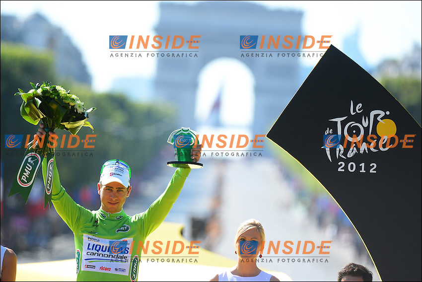 PARIS - JULY 22:  Peter Sagan (Svk) of Liquigas Cannondale Teampictured during the podium ceremony if the Tour de France 2012 on July 22, 2012 in Paris, France (Photo by Vincent Kalut & Peter De Voecht - Biker Pierre Velaerts/Photonews .Foto Insideofoto / Kalut - De Voecht / Photo News / Panoramic.ITALY ONLY