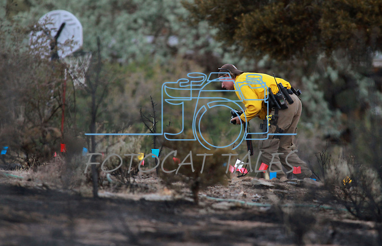 Investigators work the scene of where a  brush fire started in Topaz Ranch Estates, south of Gardnerville, Nev., on Tuesday, May 22, 2012. At least two homes were destroyed and several outbuildings. (AP Photo/Cathleen Allison)