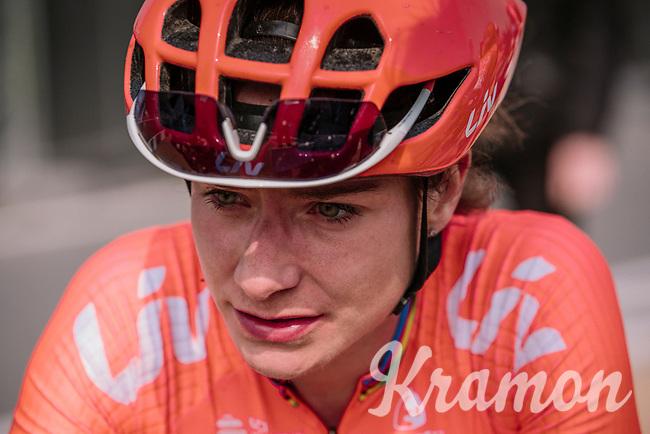 Marianne Vos at the finish of <br /> 16th Ronde Van Vlaanderen<br /> <br /> Elite Womans Race (1.WWT)<br /> <br /> One day race from Oudenaarde to Oudenaarde<br /> ©Jojo Harper for Kramon