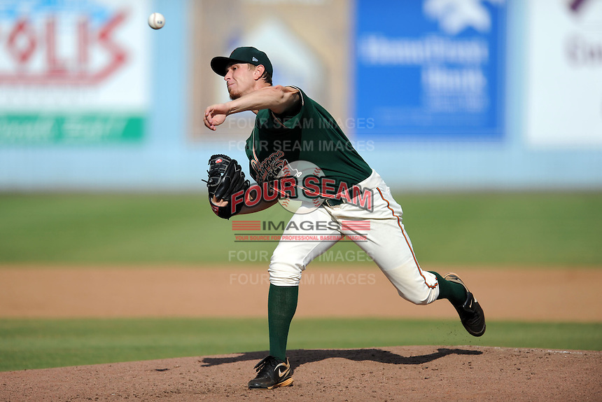 Greensboro Grasshoppers starting pitcher Chad James #39 delivers a pitch during game one of a double header against the Asheville Tourists on July 2, 2013 in Asheville, North Carolina.  The Tourists won the game 5-3. (Tony Farlow/Four Seam Images)