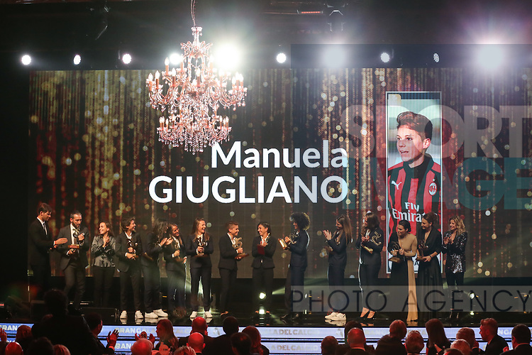 Manuela Giugliano receives the Player of the year award pictured at the The Italian Footballers Association Grand Gala of Football at the Megawatt Court, Milan. Picture date: 2nd December 2019. Picture credit should read: Jonathan Moscrop/Sportimage