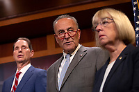 United States Senate Minority Leader Chuck Schumer (Democrat of New York), United States Senator Patty Murray (Democrat of Washington), and United States Senator Ron Wyden (Democrat of Oregon), at a press conference calling to save pre-existing condition protections in the health care system on Capitol Hill in Washington D.C., U.S. on July 31, 2019.<br /> <br /> Credit: Stefani Reynolds / CNP/AdMedia