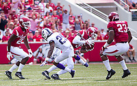 TCU Horned Frogs vs Arkansas Razorbacks –  Santos Ramirez (9) of the Razorbacks intercepts the ball from the Horned Frogs at Donald W. Reynolds Razorback Stadium, University of Arkansas,  Fayetteville, AR, on Saturday, September 9, 2017,  © 2017 David Beach