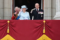 Prince Charles, HM Queen Elizabeth II &amp; Prince Philip, Duke of Edinburgh on the balcony of Buckingham Palace following the Trooping of the Colour Ceremony celebrating the Queen's official birthday. London, UK. <br /> 17 June  2017<br /> Picture: Steve Vas/Featureflash/SilverHub 0208 004 5359 sales@silverhubmedia.com