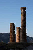 DELPHI, GREECE - APRIL 11 : A detail of 3 remaining Doric columns of the peristasis of the Temple of Apollo at sunrise, on April 11, 2007 in the Sanctuary of Apollo, Delphi, Greece. The ruins of the Temple of Apollo belong to the 4th century BC, the third temple built on the site and completed in 330BC. Its architects were the Corinthians Spintharos Xenodoros and Agathon. (Photo by Manuel Cohen)