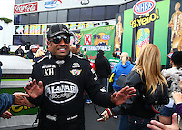 Feb 9, 2014; Pomona, CA, USA; NHRA top fuel dragster driver Khalid Albalooshi during the Winternationals at Auto Club Raceway at Pomona. Mandatory Credit: Mark J. Rebilas-