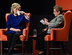 CORAL GABLES, FL - FEBRUARY 26: Hillary Rodham Clinton, Former Secretary of State (L) speaks with Donna E. Shalala, President of the University of Miami, during an event at the University of Miami BankUnited Center on February 26, 2014 in Coral Gables, Florida. Clinton is reported to be mulling a second 2016 presidential run. (Photo by Johnny Louis/jlnphotography.com)