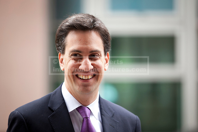 08/07/2012. LONDON, UK. Labour Leader, Ed Miliband, arrives at the cooperative bank in East London today (09/07/12) to give a talk on responsible banking. Photo credit: Matt Cetti-Roberts