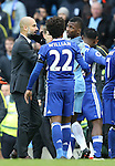 Josep Guardiola manager of Manchester City drags Kelechi Iheanacho of Manchester City away during the Premier League match at the Etihad Stadium, Manchester. Picture date: December 3rd, 2016. Pic Simon Bellis/Sportimage