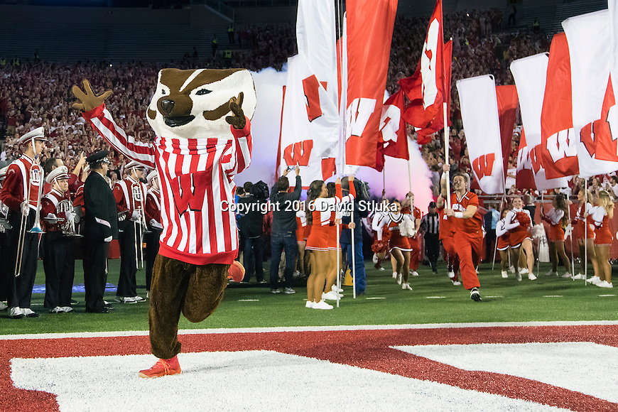 Wisconsin Badgers mascot Bucky Badger leads the team onto the field prior to an NCAA Big Ten Conference college football game against the Ohio State Buckeyes Saturday, October 15, 2016, in Madison, Wis. The Buckeyes won 30-23 in overtime. (Photo by David Stluka)