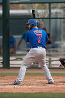 Chicago Cubs catcher Tyler Payne (7) at bat during a Minor League Spring Training game against the Oakland Athletics at Sloan Park on March 13, 2018 in Mesa, Arizona. (Zachary Lucy/Four Seam Images)