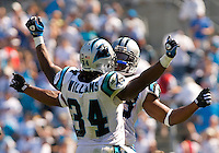 Carolina Panthers running back DeAngelo Williams (34) and Jonathan Stewart (28) celebrate against Kansas City Chiefs during a NFL football game at Bank of America Stadium in Charlotte, NC.