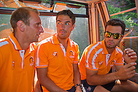 "Austria, Kitzbuhel, Juli 15, 2015, Tennis, Davis Cup, Dutch team, On the way for a photoshoot to the top of the ""Hahnenkam"" in a telpher carrier Jean-julien Rojer (R) Jesse Huta Galung and left Thiemo de Bakker<br /> Photo: Tennisimages/Henk Koster"