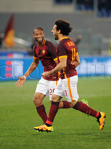 04.03.2016. Stadium Olimpico, Rome, Italy.  Serie A football league. AS Roma versus Fiorentina. Salah and Keita celebrate their goal