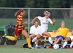 BROOKINGS, SD - AUGUST 23:  Alexa Trakalo #25 from South Dakota State University pushes the ball past Maggie Bruckman #17 from Iowa State in the first half of their game Friday evening at Fischback Soccer Field in Brookings. (Photo by Dave Eggen/Inertia)
