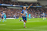 Neal Maupay of Brighton and Hove Albion scores and celebrates during Brighton & Hove Albion vs Tottenham Hotspur, Premier League Football at the American Express Community Stadium on 5th October 2019