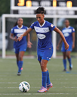 Boston Breakers forward Lianne Sanderson (10) looks to pass. In a National Women's Soccer League (NWSL) match, Boston Breakers (blue) defeated Sky Blue FC (white), 3-2, at Dilboy Stadium on June 30, 2013.