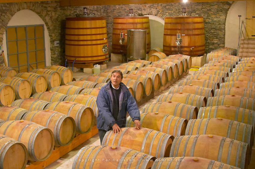 Christian Mocci Domaine de Mas de Martin, St Bauzille de Montmel. Gres de Montpellier. Languedoc. Barrel cellar. Owner winemaker. France. Europe.